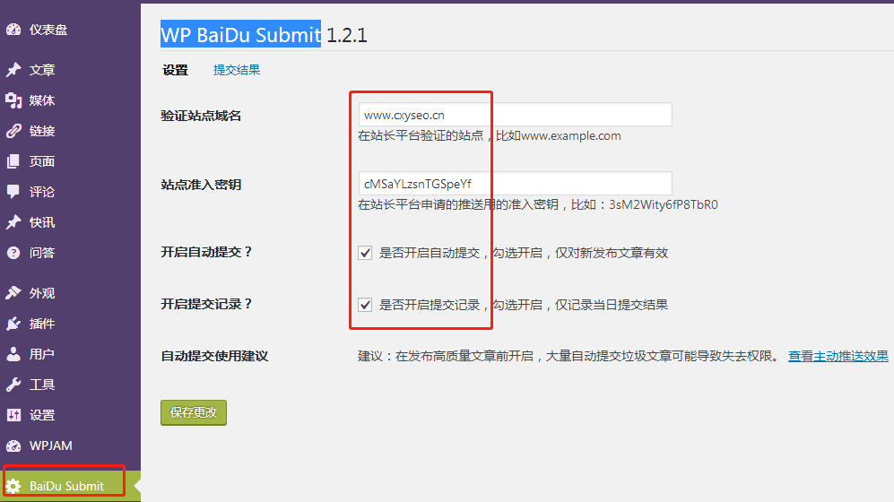 WP BaiDu Submit设置
